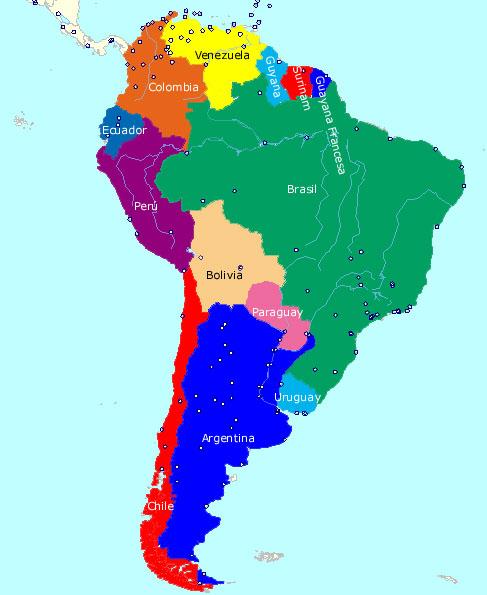 America Del Sur Map